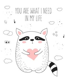 Vector lijntekening poster met schattige dieren en hart doodle illustratie
