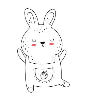 Vector lijntekening schattig konijn in jumpsuit doodle illustratie pasen baby shower