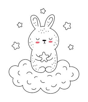 Vector lijntekening schattig konijn met ster en wolk doodle illustratie