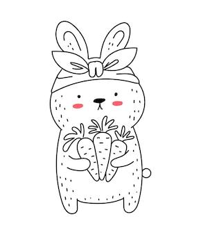 Vector lijntekening schattig konijn met wortel doodle illustratie