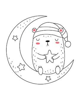 Vector lijntekening schattige beer met maan en sterren doodle illustratie