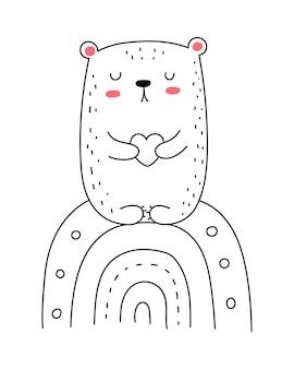Vector lijntekening schattige beer met regenboog doodle illustratie