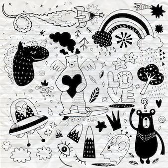 Vector lijntekeningen doodle cartoon set objecten en symbolen vol.4, hand tekenen doodle