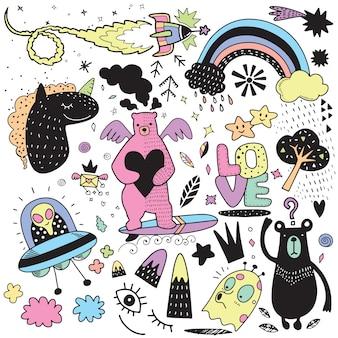 Vector lijntekeningen doodle cartoon set objecten en symbolen