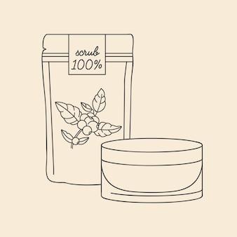 Vector lineaire afbeelding koffie scrub, lotion en cosmetische crème. schoonheidscosmetica voor de dagelijkse lichaamsverzorging.