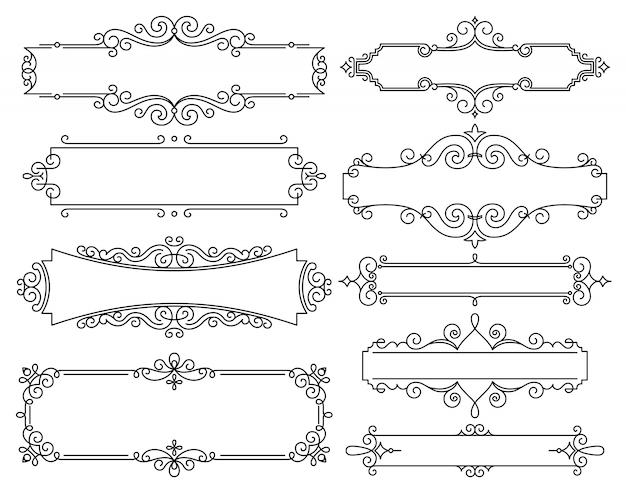 Vector lineaire frames voor huwelijksuitnodigingen