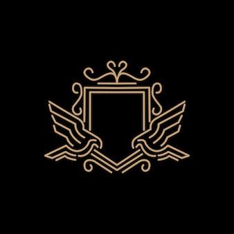 Vector lineaire heraldische vogel logo ontwerpsjabloon