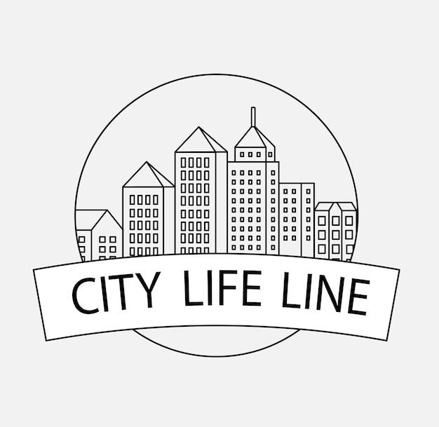 Vector lineaire stadsgebouwen en illustraties van huizen en architecturale tekens. voor website-ontwerp, visitekaartjes, uitnodigingen en flyers op het stedelijke thema met lineaire mode-graphics.