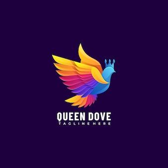 Vector logo afbeelding queen dove kleurrijke kleurovergangsstijl.