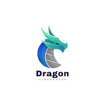 Vector logo dragon gradient kleurrijke stijl