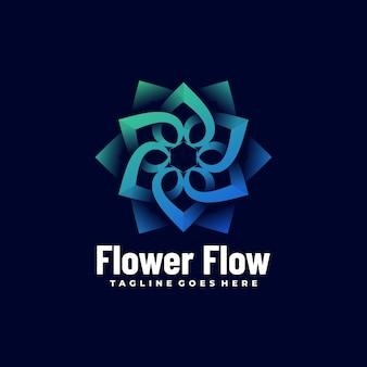 Vector logo flower flow gradient kleurrijke stijl. Premium Vector