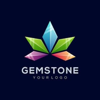 Vector logo illustratie abstracte edelsteen vorm kleurrijke stijl