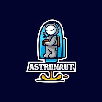 Vector logo illustratie astronaut e sport en sportstijl