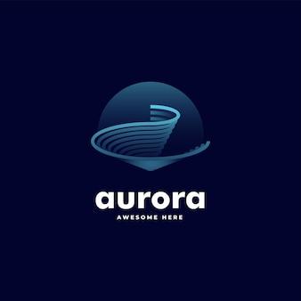 Vector logo illustratie aurora gradient line art kleurrijke stijl