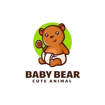 Vector logo illustratie baby beer eenvoudige mascotte stijl