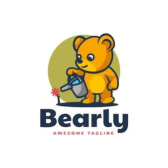 Vector logo illustratie beer mascotte cartoon stijl