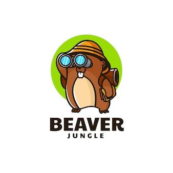 Vector logo illustratie bever mascotte cartoon stijl