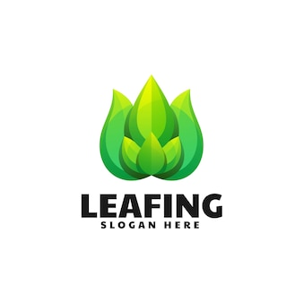 Vector logo illustratie blad gradiënt kleurrijke stijl