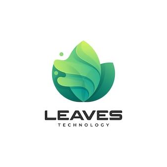 Vector logo illustratie bladeren kleurovergang kleurrijke stijl
