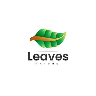 Vector logo illustratie bladeren kleurovergang kleurrijke stijl Premium Vector