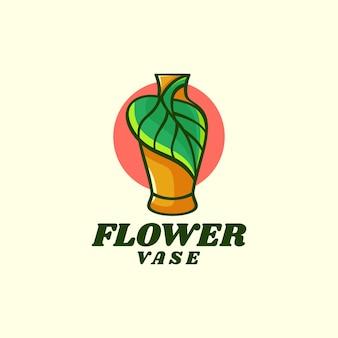 Vector logo illustratie bloemenvaas eenvoudige mascotte stijl