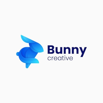 Vector logo illustratie bunny gradiënt kleurrijke stijl
