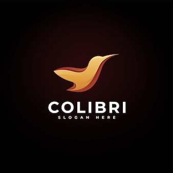 Vector logo illustratie colibri kleurovergang kleurrijke stijl