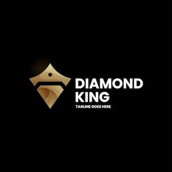 Vector logo illustratie diamond king gradiënt kleurrijke stijl