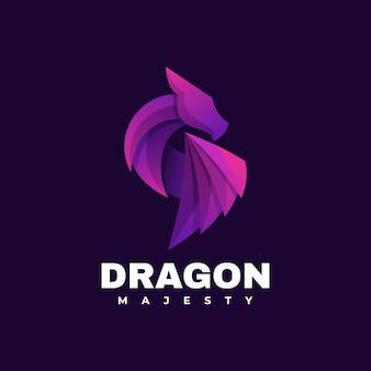 Vector logo illustratie dragon gradient kleurrijke stijl.