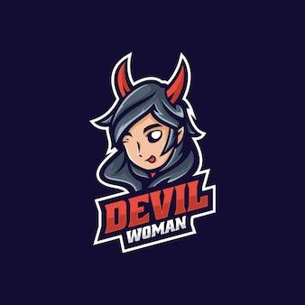 Vector logo illustratie duivel vrouw e sport en sport style