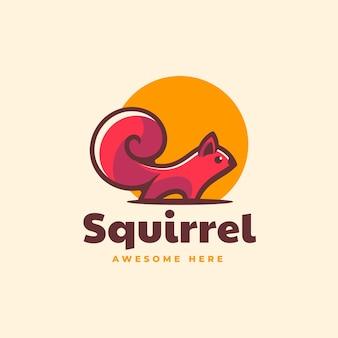 Vector logo illustratie eekhoorn eenvoudige mascotte stijl