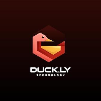 Vector logo illustratie eend laag poly gradiëntstijl
