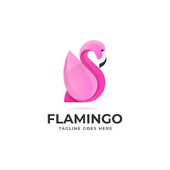 Vector logo illustratie flamingo gradiënt kleurrijke stijl