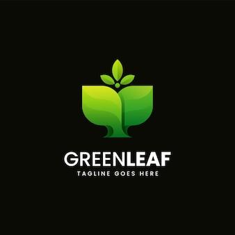 Vector logo illustratie groen blad gradiënt kleurrijke stijl