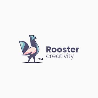 Vector logo illustratie haan eenvoudige mascotte stijl
