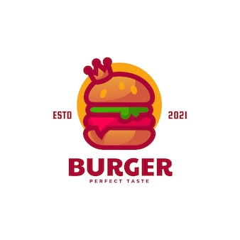 Vector logo illustratie hamburger eenvoudige mascotte stijl