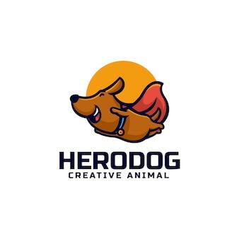 Vector logo illustratie held hond mascotte cartoon stijl