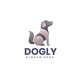 Vector logo illustratie hond gradiënt kleurrijke stijl
