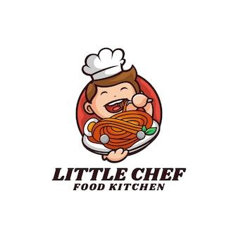 Vector logo illustratie kleine chef mascotte cartoon stijl