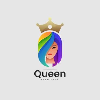 Vector logo illustratie koningin gradiënt kleurrijke stijl