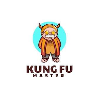 Vector logo illustratie kung fu master eenvoudige mascotte stijl
