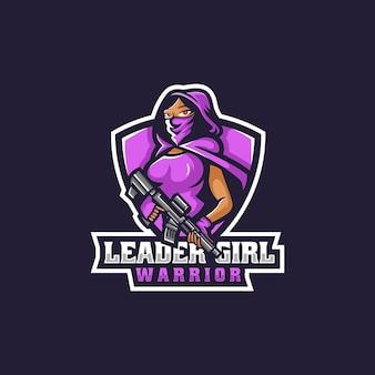 Vector logo illustratie leider meisje e sport en sport stijl