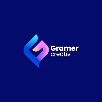 Vector logo illustratie letter g kleurovergang kleurrijke stijl