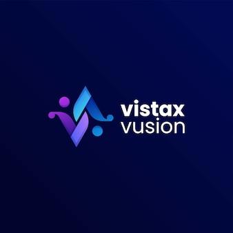 Vector logo illustratie letter v kleurovergang kleurrijke stijl