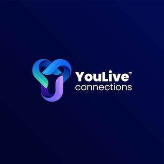 Vector logo illustratie letter y kleurovergang kleurrijke stijl