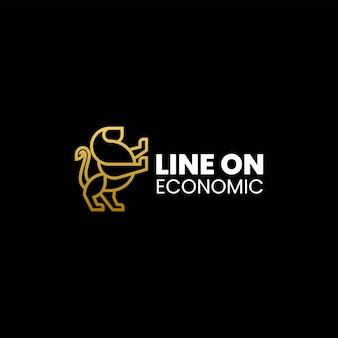 Vector logo illustratie lion line art style