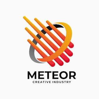 Vector logo illustratie meteor gradiënt kleurrijke stijl