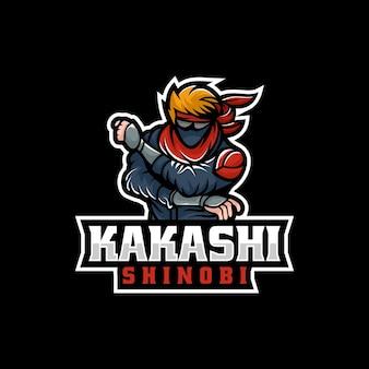 Vector logo illustratie ninja e sport en sport stijl