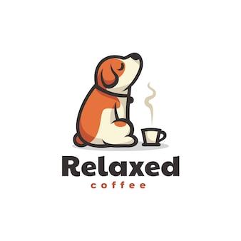 Vector logo illustratie ontspannende hond eenvoudige mascotte stijl