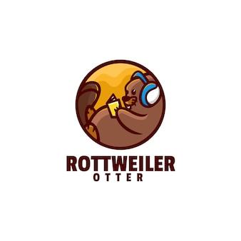 Vector logo illustratie otter eenvoudige mascotte stijl